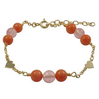 Luxiro Gold Filled Coral Semi-precious Gemstone Children's Heart Bracelet - Orange