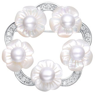 Collette Z Sterling Silver Pearl and Cubic Zirconia Flower Pin