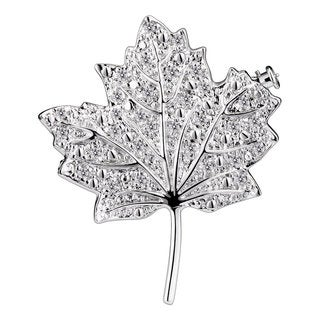 Collette Z Sterling Silver Cubic Zirconia Maple Leaf Pin