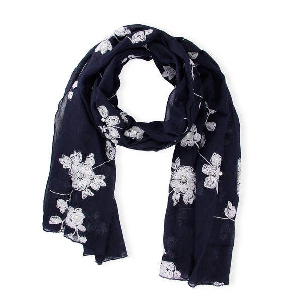 Handmade Saachi Women's Faux Pearl Floral Embroidered Scarf (China)