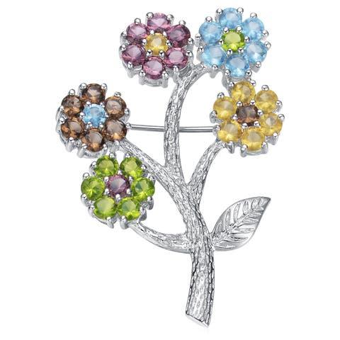 Collette Z Sterling Silver Cubic Zirconia Flower Bunch Pin - Green