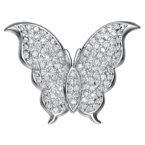 Collette Z Sterling Silver Cubic Zirconia Butterfly Pin - White