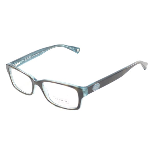 20edf53919db Shop Coach Brooklyn Dark Tortoise on Teal Plastic 52mm Eyeglasses ...