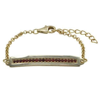 Luxiro Gold Finish Red Cubic Zirconia Children's Bar Bracelet