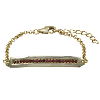 Luxiro Gold Finish Red Cubic Zirconia Children's Bar Bracelet