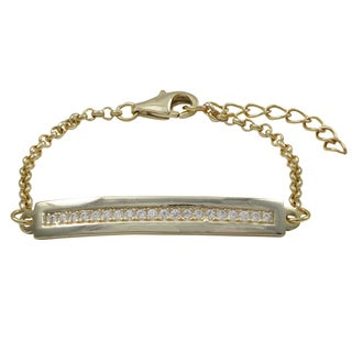 Luxiro Gold Finish White Cubic Zirconia Children's Bar Bracelet