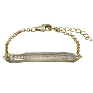 Luxiro Gold Finish White Cubic Zirconia Children's Bar Bracelet
