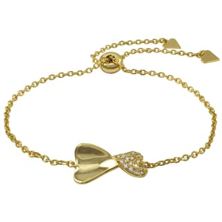 Luxiro Gold Finish Pave Cubic Zirconia Heart Children's Adjustable Bracelet