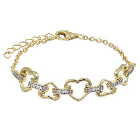Luxiro Gold Finish Pave Cubic Zirconia Heart Children's Bracelet - White