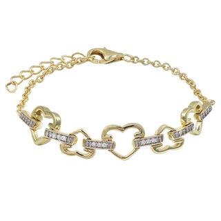 Luxiro Gold Finish Pave Cubic Zirconia Heart Children's Bracelet