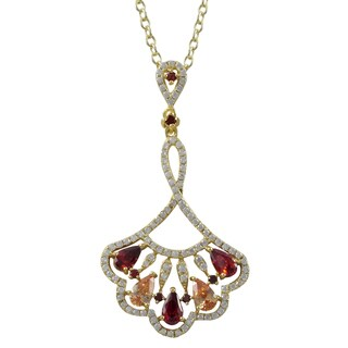 Luxiro Gold Finish Sterling Silver Red and Champagne Cubic Zirconia Fan Pendant Necklace