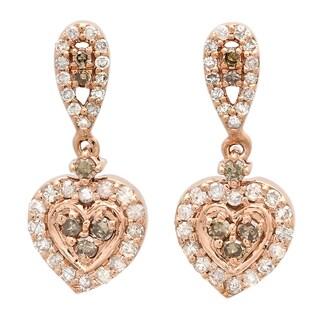 14k Rose Gold 1/2ct TDW Champagne and White Diamond Heart Dangling Earrings (I-J, I2-I3)