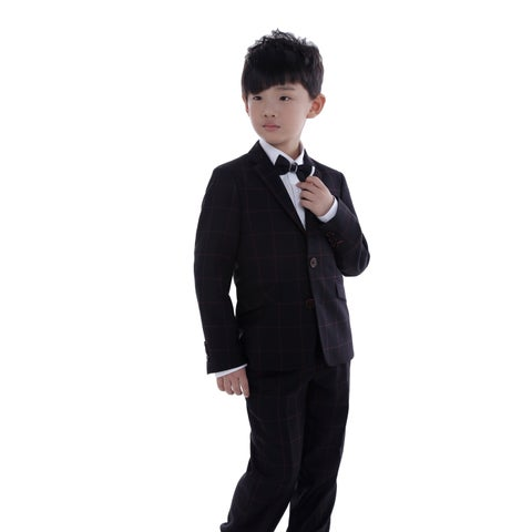 Black with Burgundy Plaid 2-piece Suit for Kids 4 - 14 Years