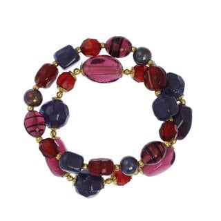 Alexa Starr Red and Purple Glass Stretch Bracelet