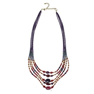 Alexa Starr Mutli-strand Red & Purple Glass Bead Necklace