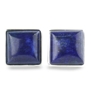 Sterling Silver 15 mm Square Lapis Stud Earrings