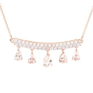 18k Rose Gold Overlay Morganite and White Zircon Bar Drop Necklace
