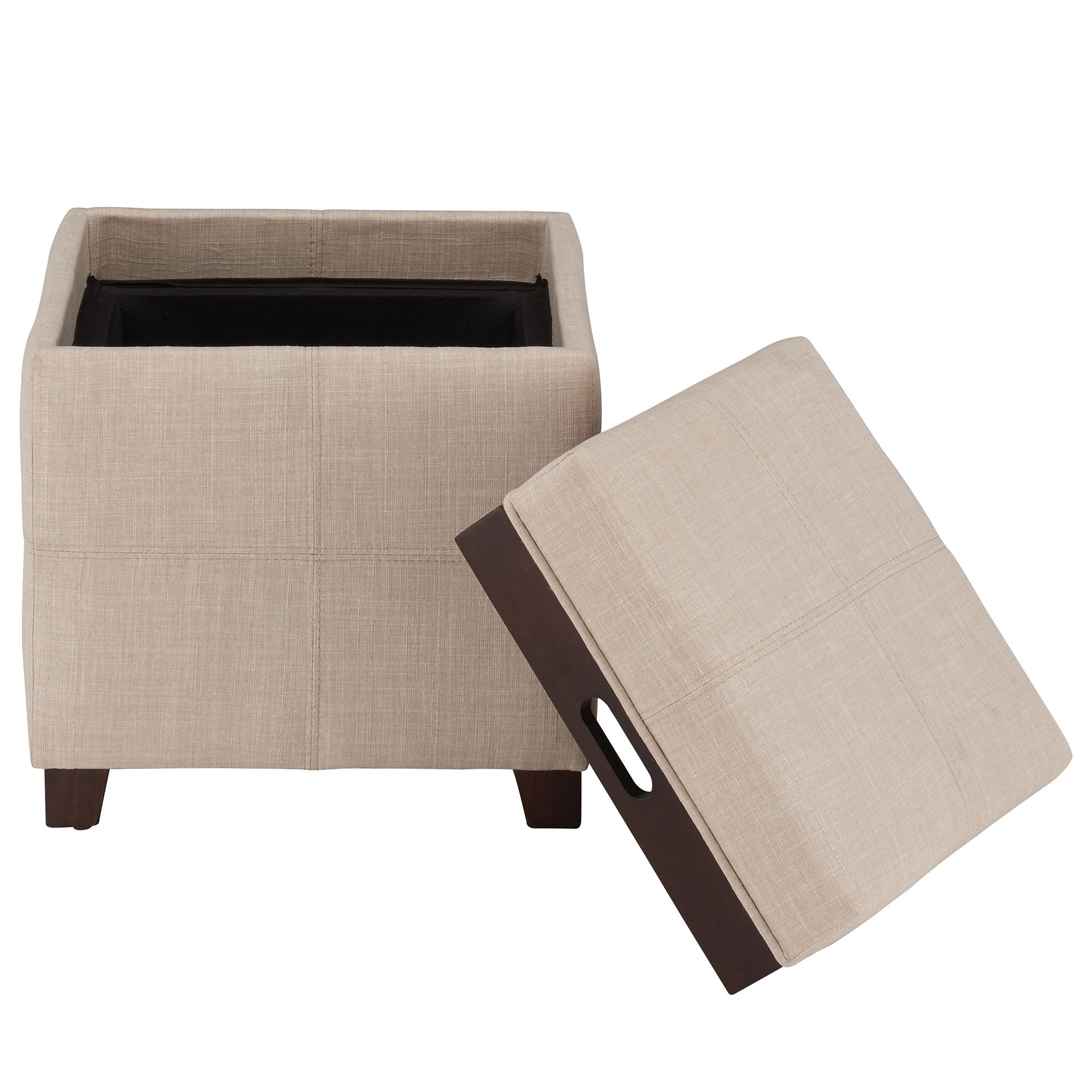 Havenside Home Roseland Fabric Ottoman with Reverse Tray