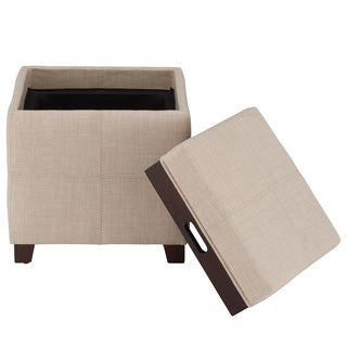 KOVO Fabric Ottoman with Reverse Tray