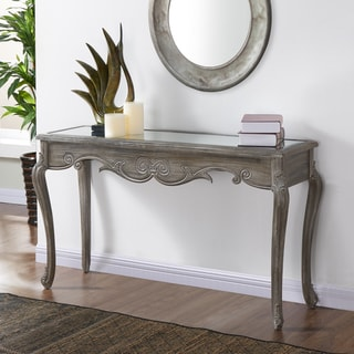 Kailey Mirrored Top Weathered Console Table
