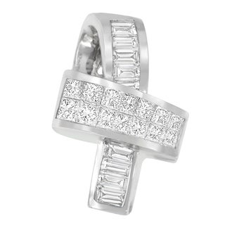 14k White Gold 2 1/10ct TDW Princess and Baguette Diamond Pendant (H-I,SI-SI2)