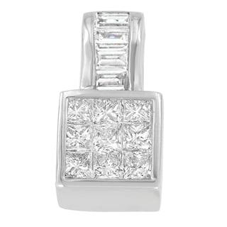14k White Gold 1 1/2ct TDW Princess and Baguette Diamond Pendant (H-I,SI1-SI2)