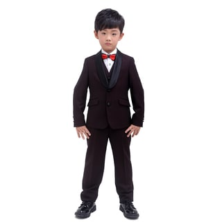 Burgundy with Black Texture 3-piece Tuxedo for Kids 4 - 14 Years