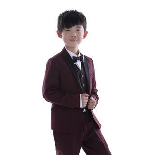 Burgundy 3-piece Suit with Black Trim for Kids 4 - 14 Years