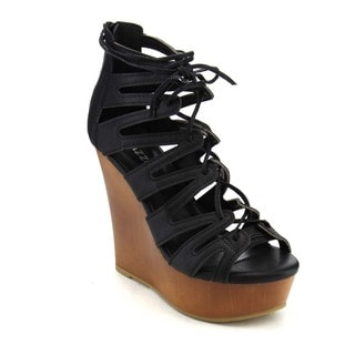 Pazzle Gb58 Women's Gladiator Lace-up Platform Wedges