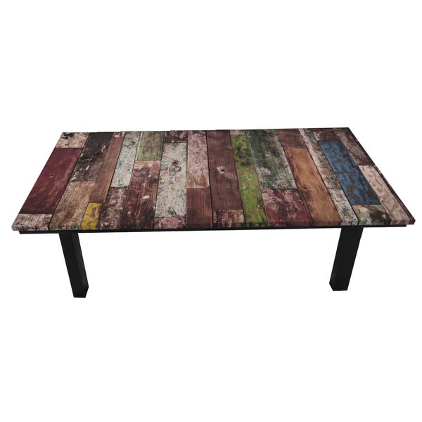 Arthouse Innovations Old Wood Grunge Suede Upholstered Coffee Table