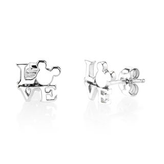 Disney Mickey Mouse Love Sterling Silver Stud Earrings
