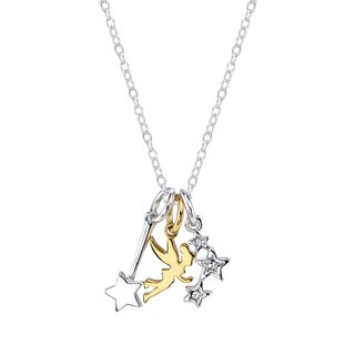 Disney Silverplated Brass Two Tone Tinkerbell Charm Necklace