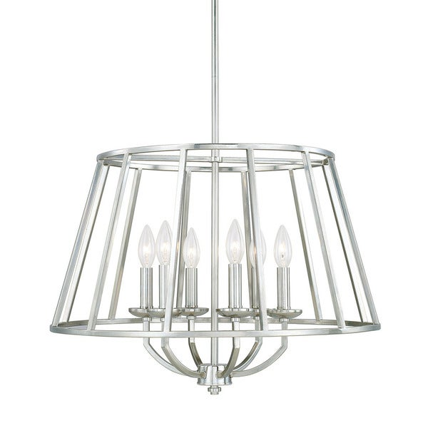 Austin Allen Company Jaxon Collection 6 Light Polished Nickel Pendant