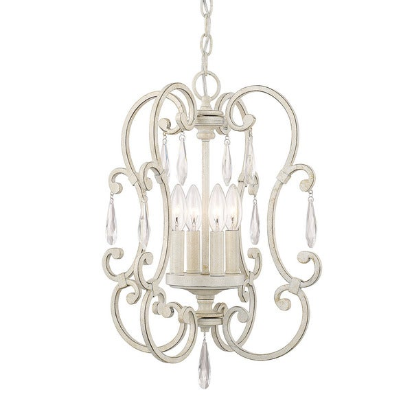 Chloe 4-light French White Mini Chandelier. Opens flyout.