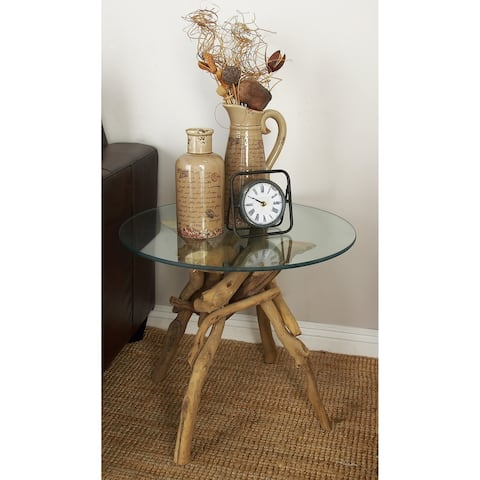 Natural 20 x 24 Inch Driftwood and Glass End Table by Studio 350