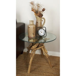 "Driftwood Glass End Table 24""W, 20""H"