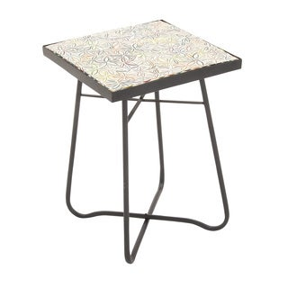 "Metal Glass Square Floor Side Table 16""w, 23""h"