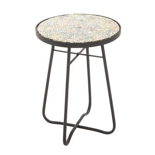 "Metal Glass Round Floor Side Table 16""w, 23""h"