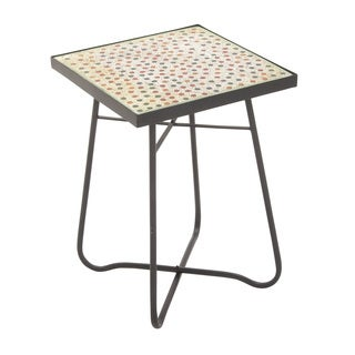"Metal Glass Square Side Table 16""w, 23""h"