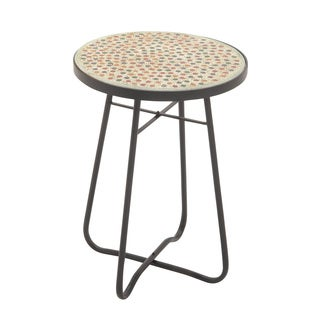 "Metal Glass Round Side Table 16""w, 23""h"