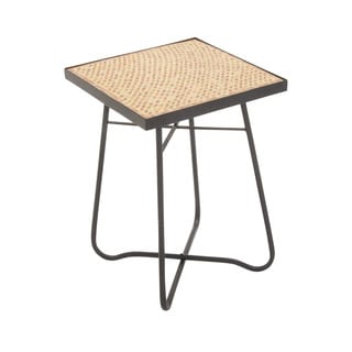 "Metal Glass Square Brown Side Table 16""w, 23""h"