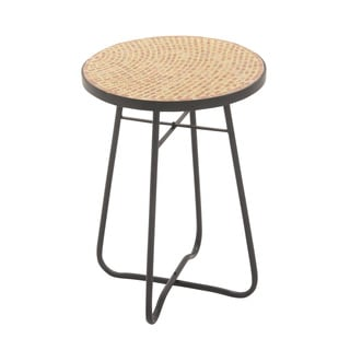 Metal Glass Round Brown Side Table