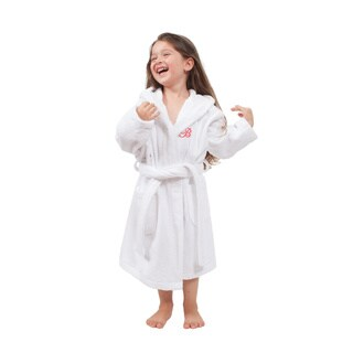 Sweet Kids Turkish Cotton Terry White with Hot Pink Monogram Hooded Bathrobe (More options available)