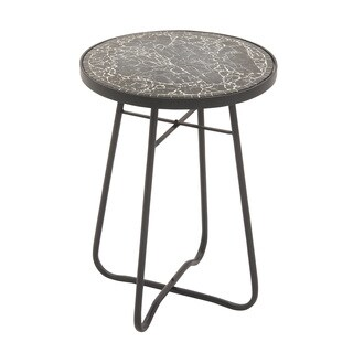 Metal Glass Round Black Side Table