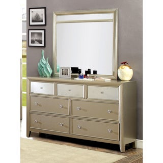 Furniture of America Merria Contemporary 2-piece Silver Dresser and Mirror Set