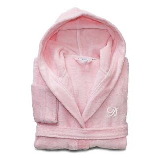 Sweet Kids Turkish Cotton Terry Pretty Pink with White Monogram Hooded Bathrobe|https://ak1.ostkcdn.com/images/products/11441875/P18401998.jpg?impolicy=medium