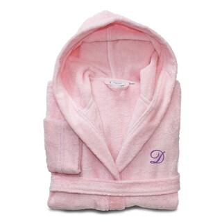 Sweet Kids Turkish Cotton Terry Pretty Pink with Lavender Monogram Hooded Bathrobe