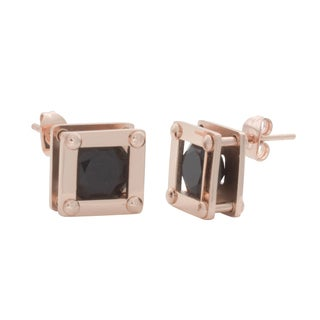 Nexte Jewelry Rose Gold over Silver Girder Stud Earrings - Pink