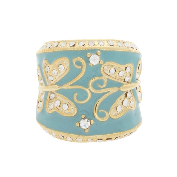 NEXTE Jewelry Stone Encrusted Butterfly Full Band Cuff - Blue