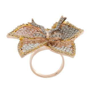 NEXTE Jewelry Stone Encrusted Large Tri-color Iris Flower Ring - Pink